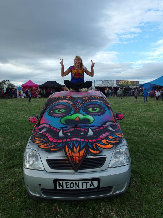 Tibetan Lion Car, Lindisfarne Festival, Lindisfarne, 2018 Shout out to Sandy (Thank You)