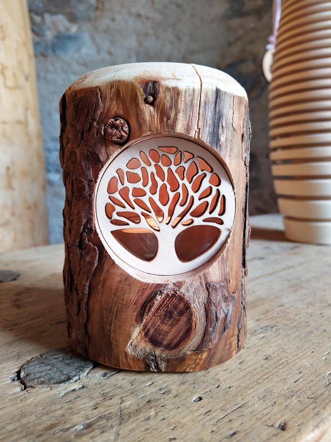 Windlicht aus Zirbenholz,Lebensbaum