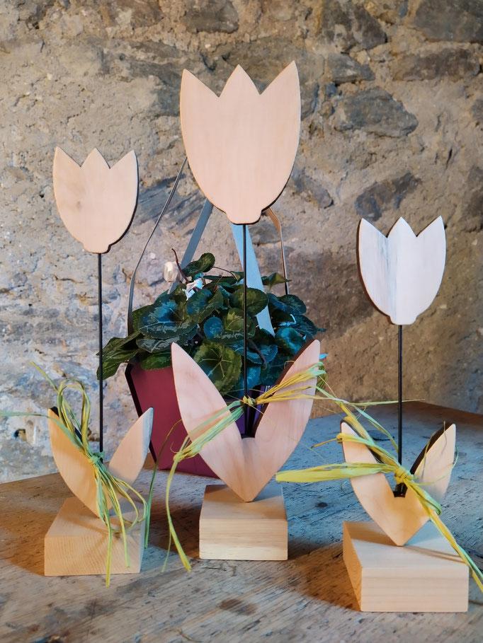 Tulpen aus Zirbenholz