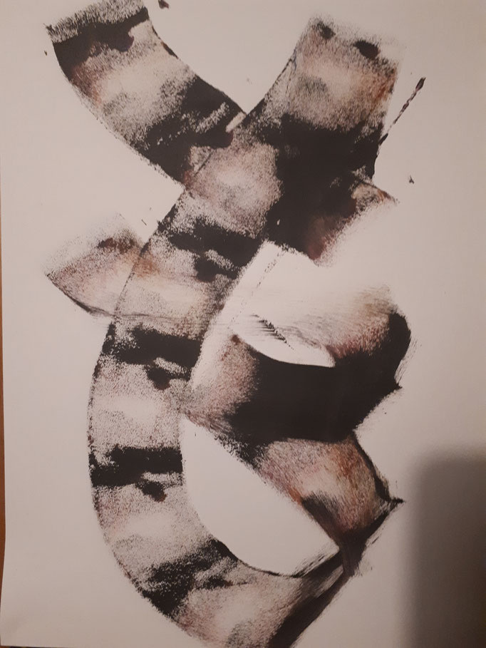 Japan II, DIN A4, Acryl auf Papier auf Holzleisten