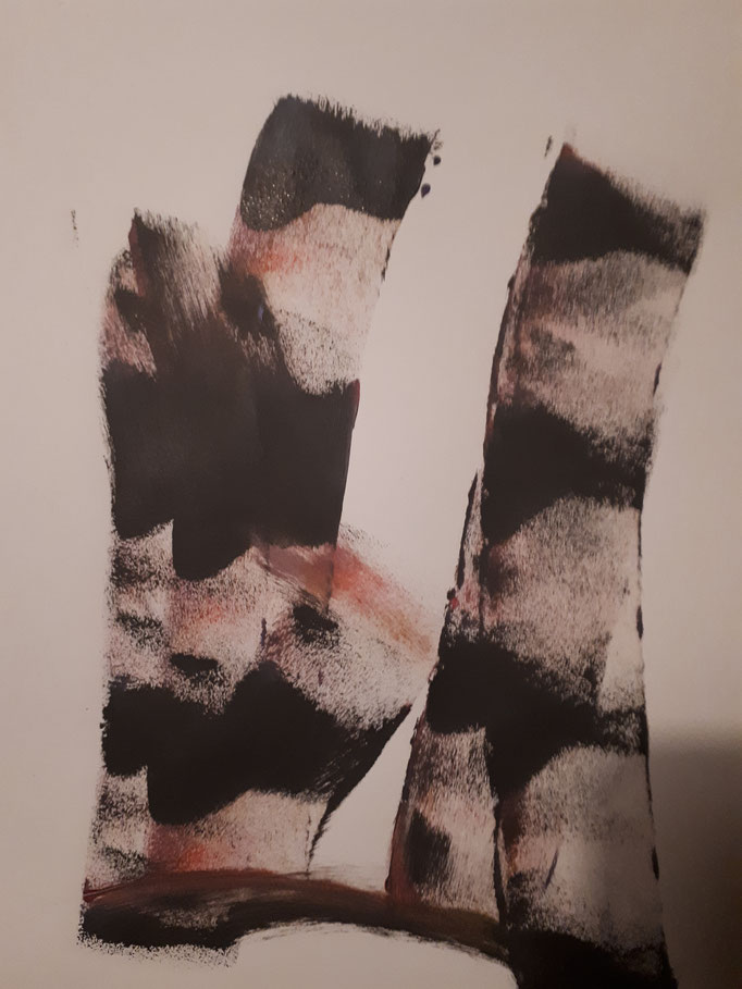 Japan I, DINA4, Acryl auf Papier auf Holzleisten