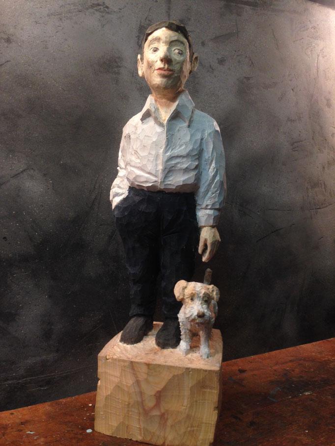 Mann mit Jack Russell / Thuja 16x14x60 cm