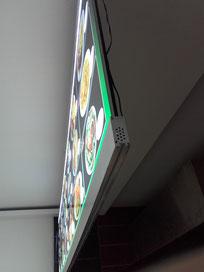 Menüboard für Imbiss mit LED-Beleuchtung
