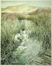 """Am Wriakhörnsee, Aquarell und Tusche, 60 x 49 cm, 2008, verkauft"