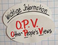 Beispiele Six Thinking Hats | der Weiße Hut | wichtige  Information | OPV | Other People's Views