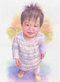 色鉛筆似顔絵 リアル 写実 女の子