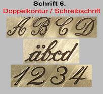 Anfangsbuchstaben freistehend auch für Monogramm / Initialen-Gravur, Schreibschrift ist nicht für Becher-Gravur geeignet