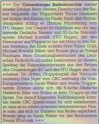 Cronenberger Anzeiger Bericht vom 26.04.2005 ERLT