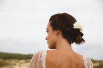 Boucle d'oreille pendante perle mariage