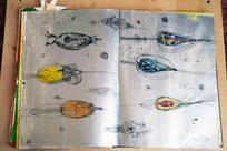 """Eine Hommage an die Alchemie"""", Tuschezeichnung, Acrylmalerei, Collage, 40 Seiten, 2 Bücher, 45 x 60 cm, 2015"""