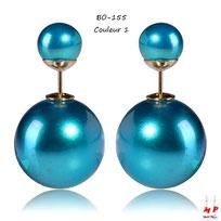 Boucles d'oreilles double perles bleues nacrées