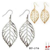 Boucles d'oreilles pendantes feuilles argentées ou dorées en métal