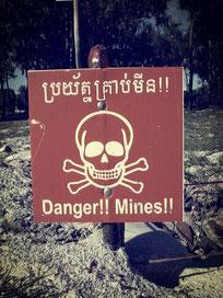 Vorsicht vor Landminen in Kambodscha