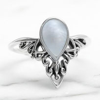 925 sterling zilver roundy ring rainbow moonstone