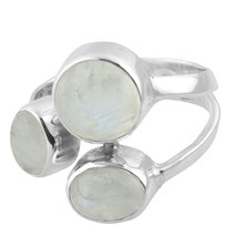 925 sterling zilver 3 stone ring Rainbow Moonstone