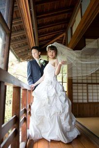日本邸宅ドレス前撮り