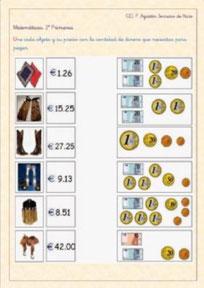 Calcular con monedas y billetes