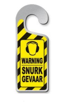 Metalen deurhanger Warning snurkgevaar € 3,95