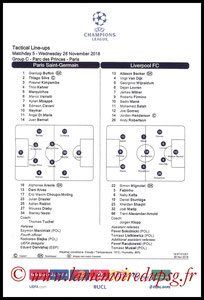 Feuille de match  PSG-Liverpool  2018-19
