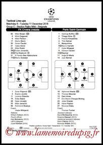 Feuille de match  Etoile Rouge de Belgrade-PSG  2018-19