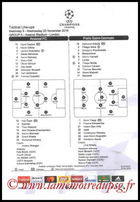 Feuille de match  Arsenal-PSG  2016-17