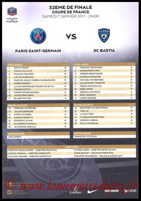 Feuille de match  PSG-Bastia  2016-17