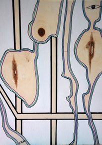 Venus d'ailleurs n° 14, posca et acrylique sur bois