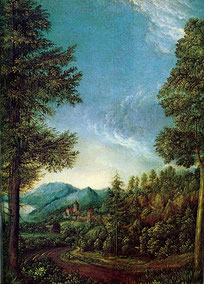 Albrecht Altdorfer: Donaulandschaft mit Schloss Wörth, um 1522.