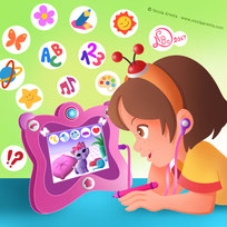 children illustration little girl use tablet for learning trougha a cat in the monitor and colorful icons