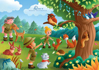 children illustration children and grandmother in scout uniform exploring the wood with many animals such as bunnies dog foxes squirrel singing nightingales lizard deer owl butterflies