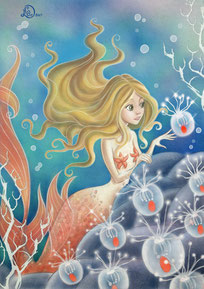 fairy tale illustration_mermaid with brighting hydra jellyfish into the dephts