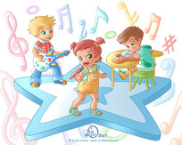 happy children sing and play in a band, musical notes on the ground