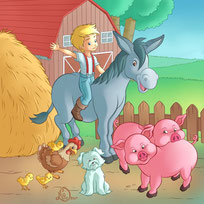 children illustration_little boy riding donkey with pigs chicks and dog in the farm