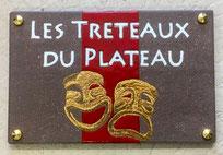 Enseigne en lave émaillée (masques or et bronze) pour association théâtre