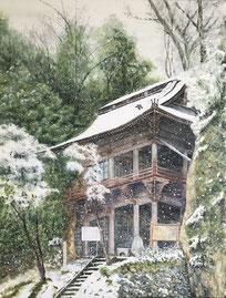 「雪の岩室観音堂」(F50号)以前県の美術展に出品して、初めて入選した思い出のある作品です。家の近くにある岩室観音堂を描いたものです。