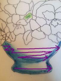 真横に描いてしまうと平面的でベタッとした感じになってしまいます。