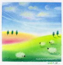 羊のいる丘(花畑と昼間の月)