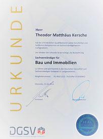 Urkunde: Zertifizierter Sachverständiger für Bau und Immobilien des DGuSV