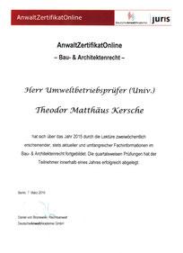 Zertifikat : Bau und Architektenrecht von DeutscheAnwaltAkademie