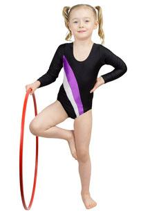 ML-Sport24 Kinder Body Gymnastikanzug Claudia mehrfarbig Schwarz Lila Weiß