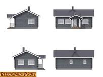Blockhaus Bungalow  - Singlehaus - Ansichten  -  Entwurfszeichnungen für  Singlehaus als Wohnblockhaus - Blockhaus schlüsselfertig oder als Bausatzhaus - Selbstbauhaus - Bauen - Lübeck - Wismar -Hauptbezeichnungen - Bauantrag