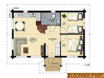 Kleines Blockhaus als Wohnhaus in echter Blockbauweise für Singles und Paare - Grundriss für Singlehaus - Hausplanug - Grundrissplanung - Enwurfsplanung - Barrierefreies Haus - Zimmerei - Rostock - Ostsee - Winterfestes Feriehaus - Bauantrag