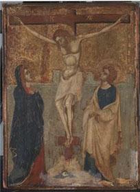 Anonyme, Christ en croix, vers 1420, legs Boucher de Perthes, avant restauration/ Musée d'Abbeville