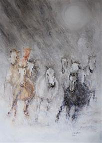 Pferde im Schneesturm