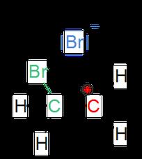 Zweiter Schritt der Strukturformel der elektrophilen Addition.