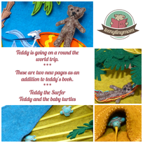 quiet book teddy on a round the world trip teddy the surfer and the baby turtles
