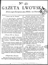Gazeta Lwowska.- 1811 nr 43 z dnia 27 sierpnia