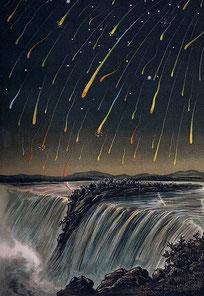 """Der Meteorstrom der Leoniden, gesehen in Nordamerika in der Nacht vom 12. auf den 13. November 1833 (E. Weiß: ''Bilderatlas der Sternenwelt"""" (1888))."""