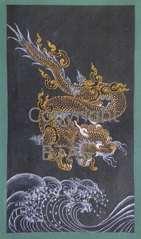 Dragon with Water painted by Phuntsho Wangdi