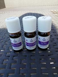 Huiles essentielles d'encens, eucalyptus radié et tea tree.